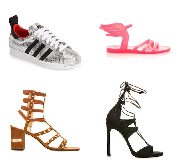 Adidas sneaker, Ancient Greek sandal, Stuart Weitzman Gladiator and Legwrap Sandal
