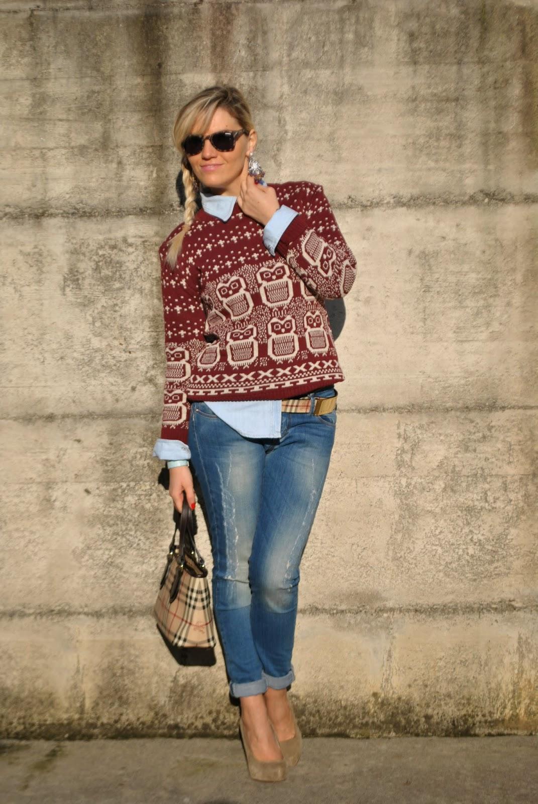 outfit maglione,camicia denim,jeans skinny,borsa burberry,cintura burberry,abbinamento jeans e tacchi,acconciatura treccia,mariafelicia magno fashion blogger,colorblock by felym,fashion blog italiani,outfit gennaio 2015. abbinare maglione e camicia,outfit burgundy,   abbinare maglione e camicia,outfit burgundy outfit jeans outfit camicia e maglione outfit jeans skinny abbinamenti jeans skinny jeans e tacchi come abbinare jeans e tacchi come abbinare jeans e maglione maglione gufi outfit burgundy come abbinare il bordeaux outfit jeans casual outfit da ufficio con jeans borsa burberry cintura burberry acconciatura treccia laterale how to wear jeans to work jeans and heels sewater and shirt how to wear jeans and heels how to wear shirt and sweater fashion bloggers italy italian fashion bloggers italian girls girls blonde girls braids burberry belt burberry bag outfit burberry outfit borsa burberry outfit cintura burberry