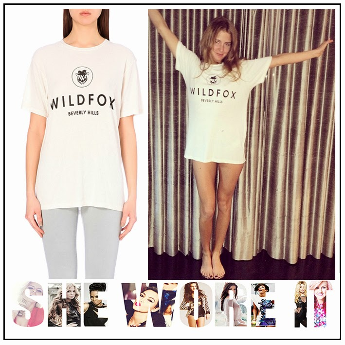 ASOS, Beverly Hills, Celebrity Fashion, Cream, Lace, Long, Millie Mackintosh, Oversized, Slogan, T-shirt, Vintage, Wildfox,