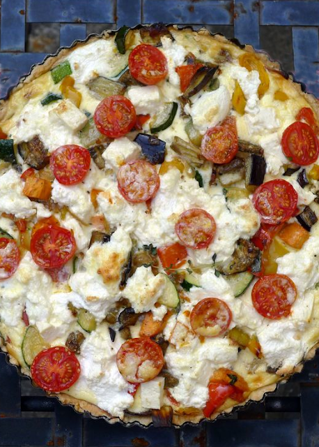 mediterranean inspired roasted vegetable ricotta tart with goat cheese ...