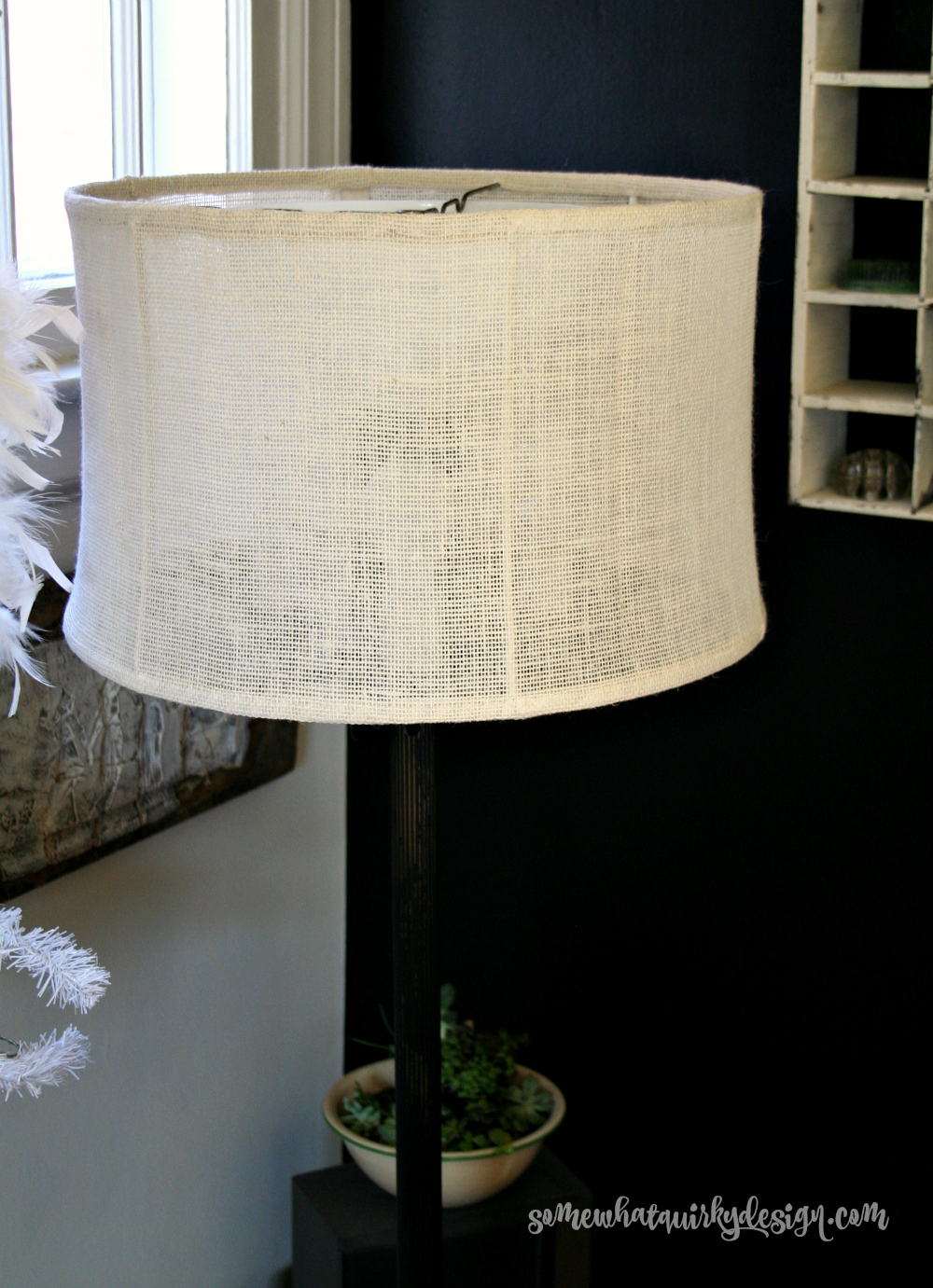 vintage lampshades covered with burlap