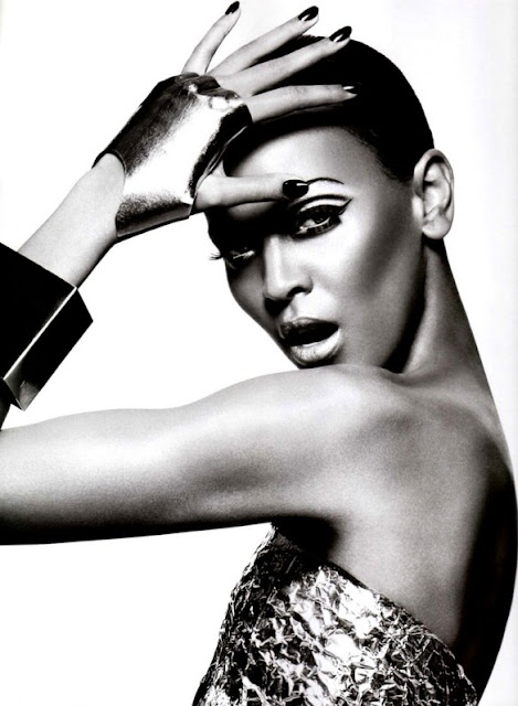 Liya Kebede in Vogue Japan February 2009 issue - metallic fashion editorial