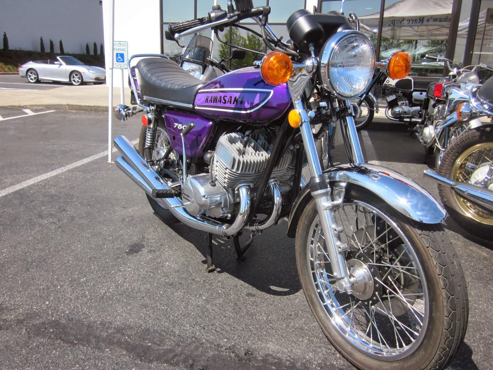 Oldmotodude 1974 kawasaki h2 750 triple on display at the for Hinshaw honda auburn wa
