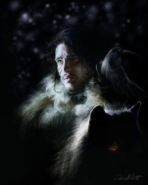 08-Jon-Snow-Ania Mitura-GoT-Game-of-Thrones-Digital-Paintings-www-designstack-co