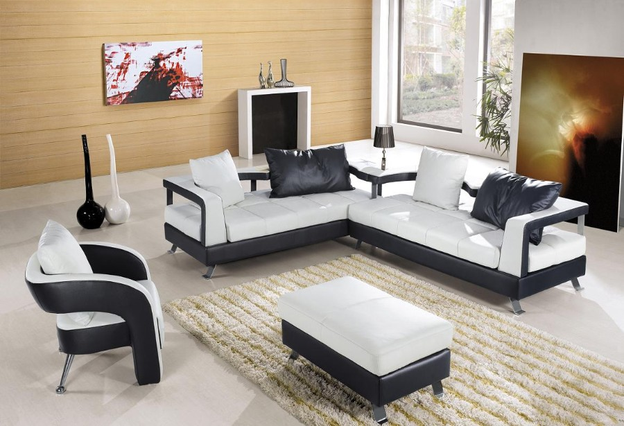 Home decor 15 modern living room black and white for Modern black and white furniture