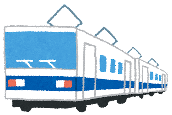 電車のイラスト「青ライン」
