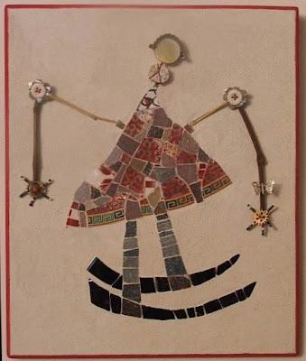 création d'un tableau en mosaïque ideal pour cadeau de naissance pate de verre branche perle morceau de vaisselle cassée tout l'univers créatif de mimi vermicelle