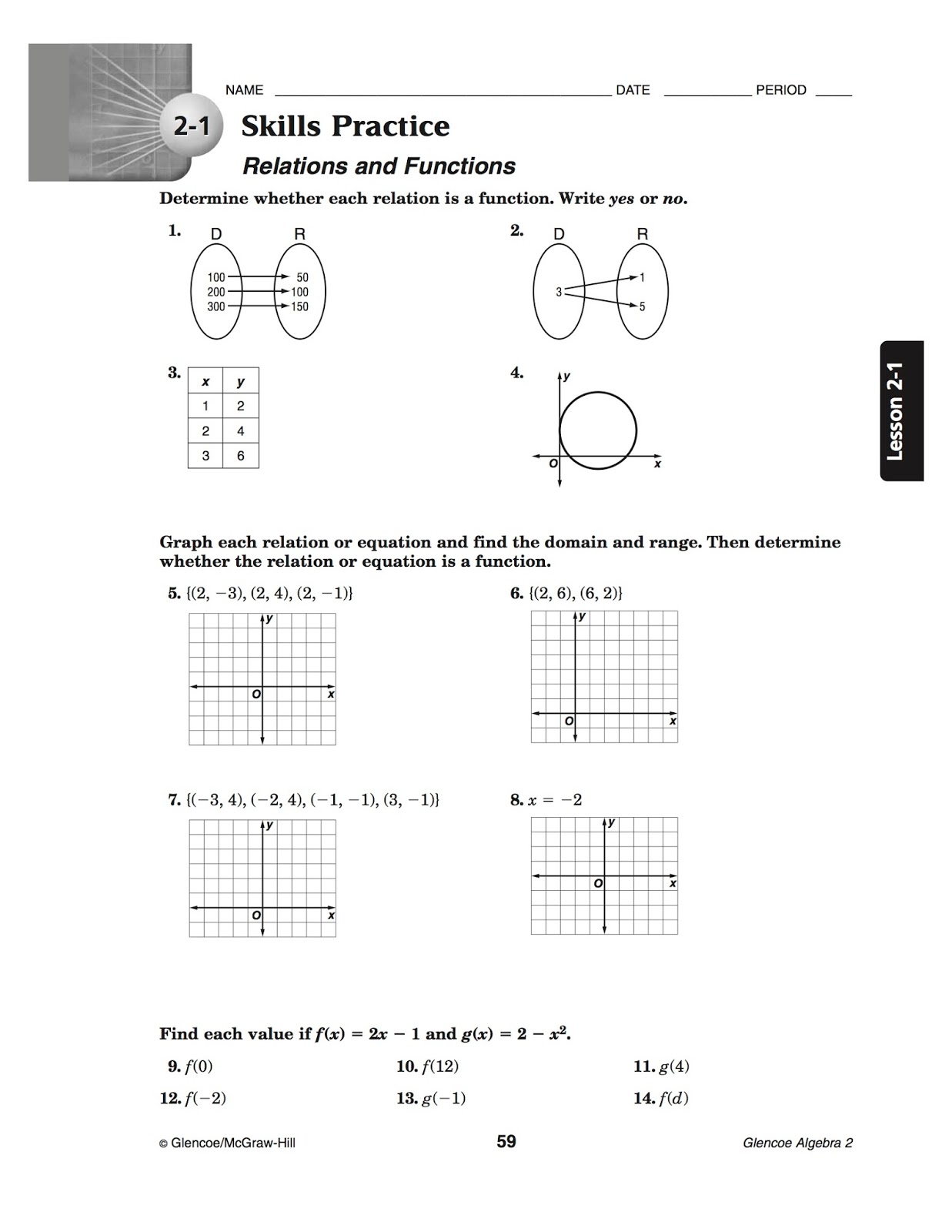 BACS Algebra 2 – Relations and Functions Worksheet