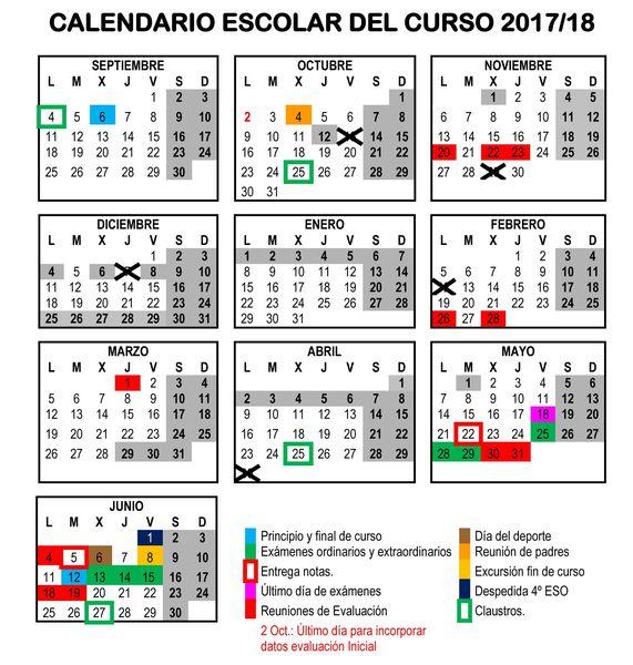 CALENDARIO DE CURSO 2017-18