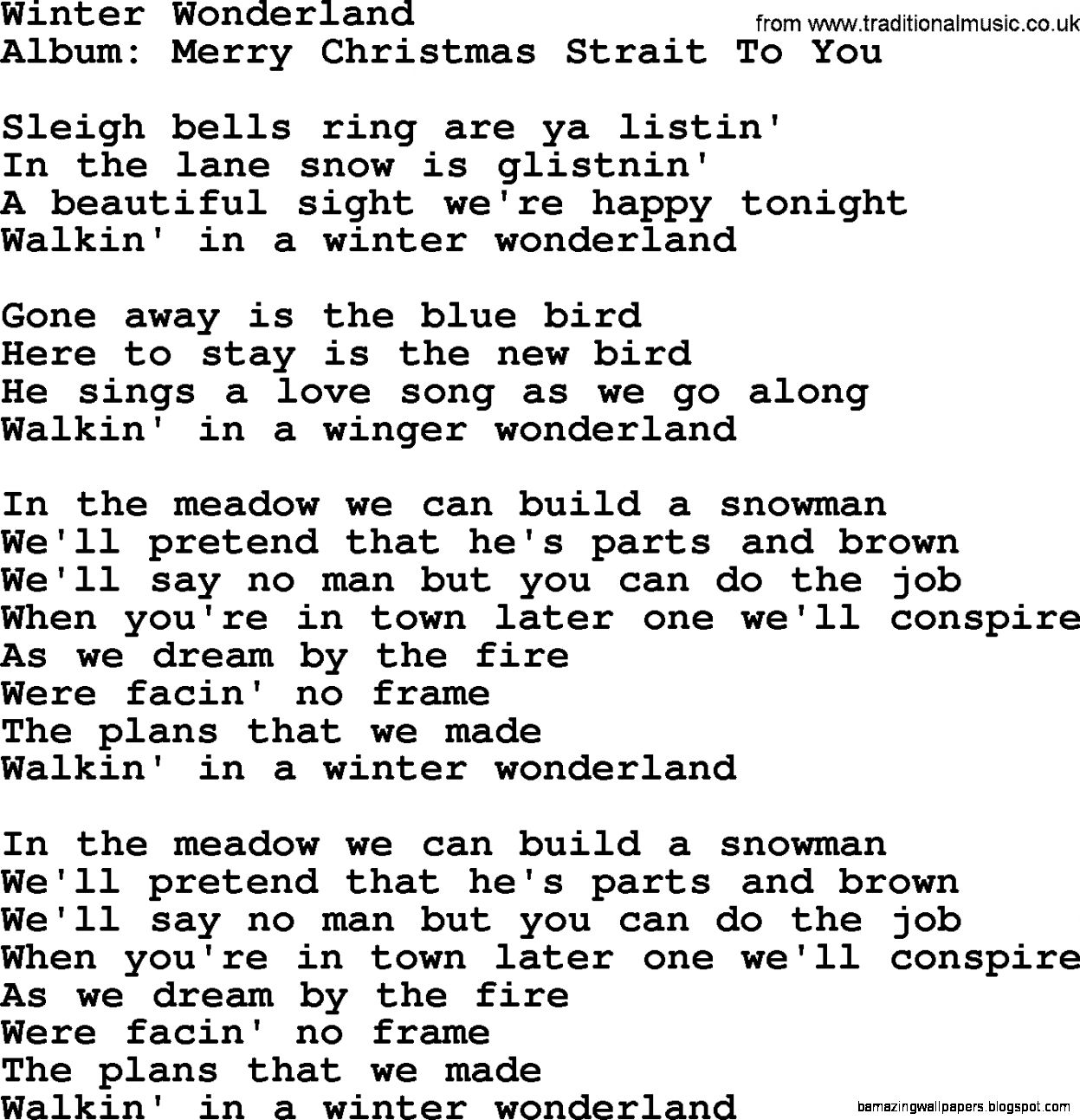 Winter Wonderland by George Strait   lyrics