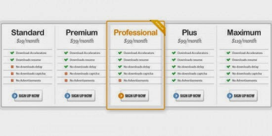 Download PSD Pricing Table