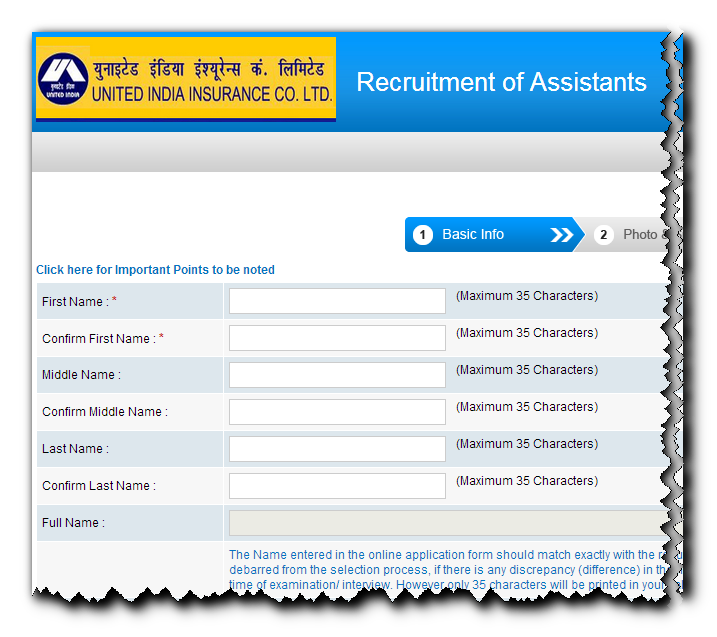 United Insurance  Assistant Online form 2014
