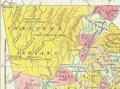 Map of Cherokee Indian territory 1830