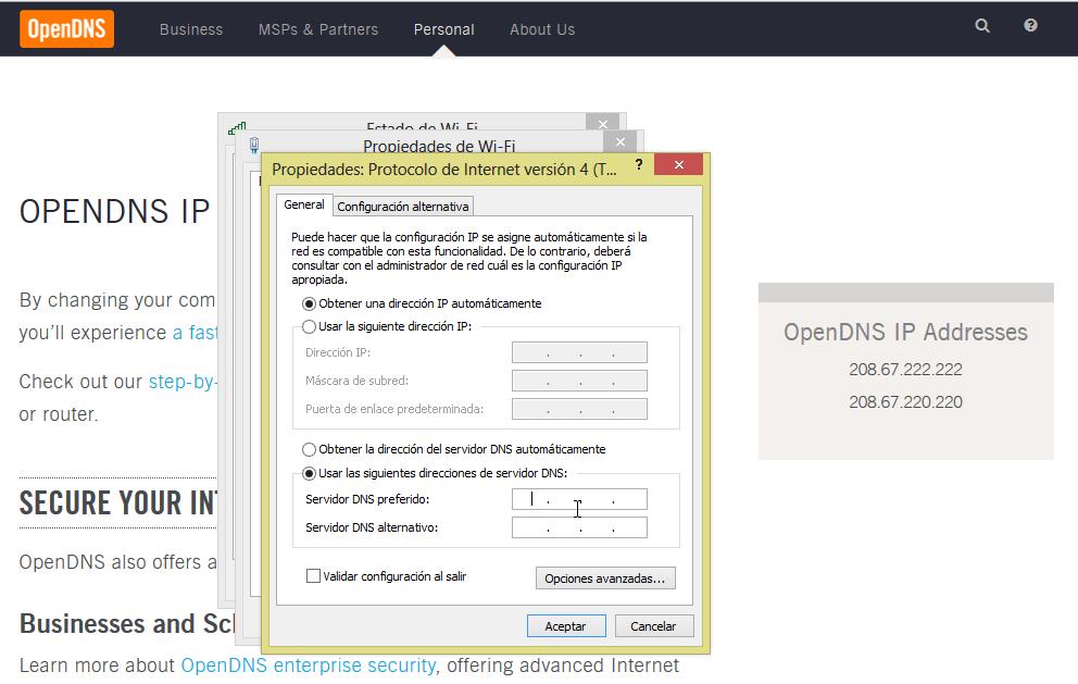 Configurando el OpenDNS como servidor DNS