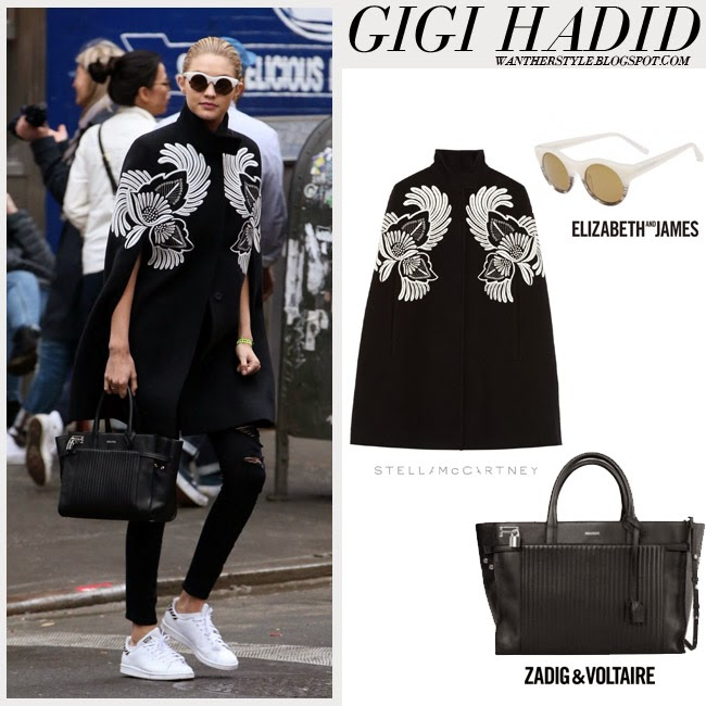 Gigi Hadid in black floral embroidered Stella McCartney cape, skinny jeans, black Zadig Voltaire tote and white sneakers want her style fashion inspiration april 2015