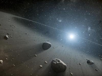 Diseño artístico de un cinturón de asteroides alrededor de Vega