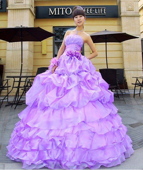 Wedding Lady Light Purple Excellent Bridal Gown