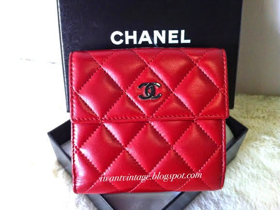 Chanel A48980 Small Double Wallet Shw Red