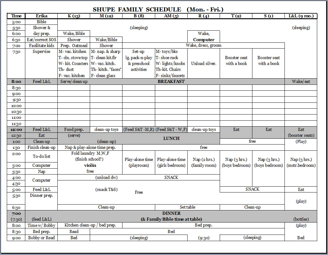 exercise weekly schedule template .