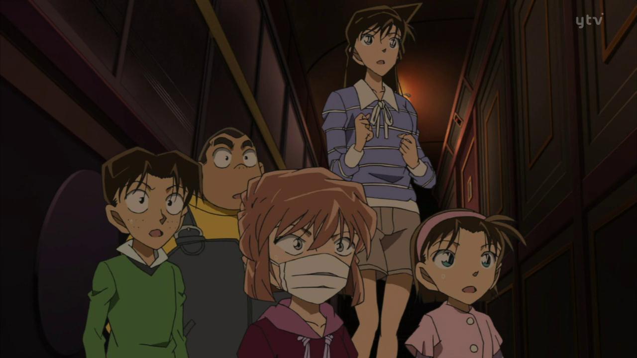 Les détectives juniors avec Ran à bord du mysteri train