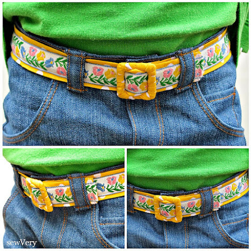 sewing tutorial for handmade vintage trim belt from Sew Very