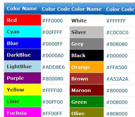 image gallery html color codes generator