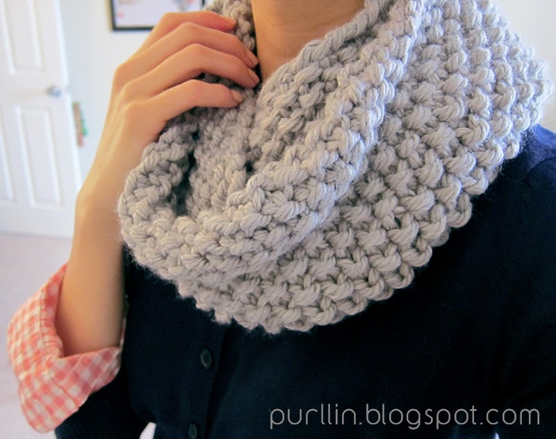 Free Patterns For Knitted Scarves : Purllin: December Seed Stitch Infinity Circle Scarf [ free knitting pattern ]