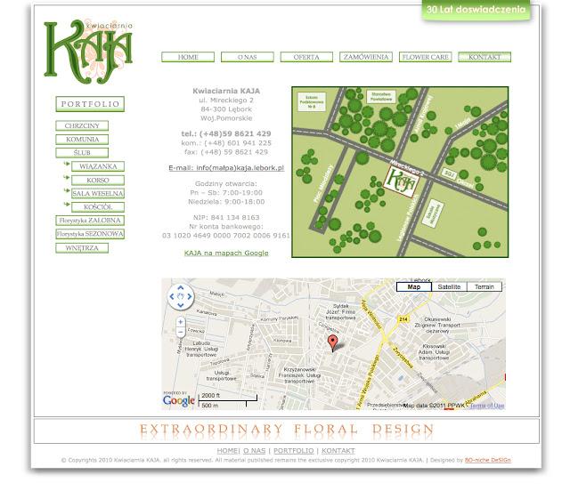 Kwiaciarnia KAJA - strona internetowa - kontakt