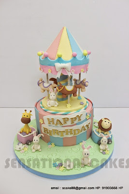 The Sensational Cakes Carousel 3d Cake Singapore Ponies