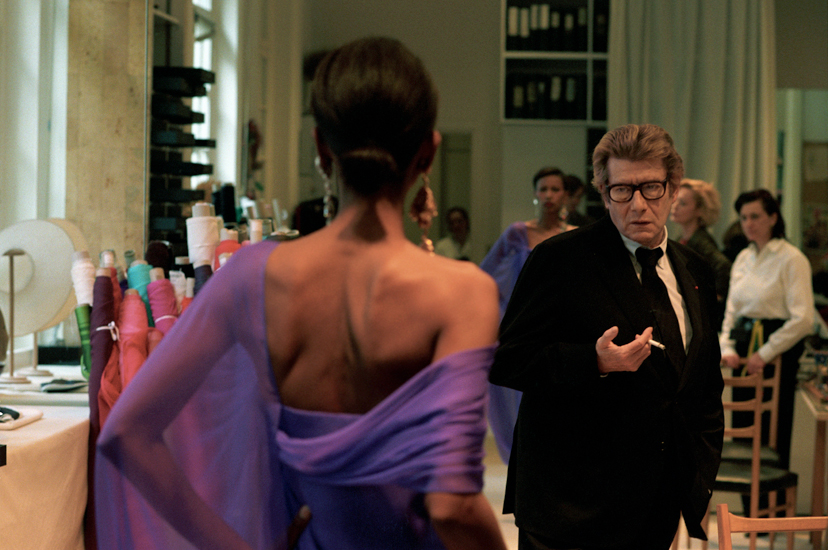 Yves Saint Laurent working on his Spring/Summer 2002 couture collection photographed by Alexandra Boulat