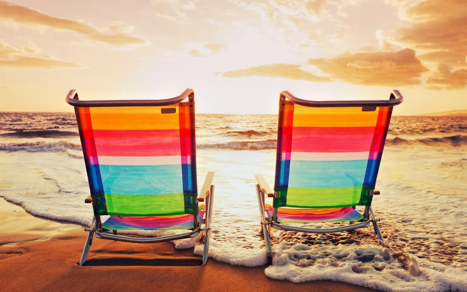 Wallpaper met strandstoelen