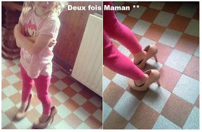 essayer les chaussures de maman