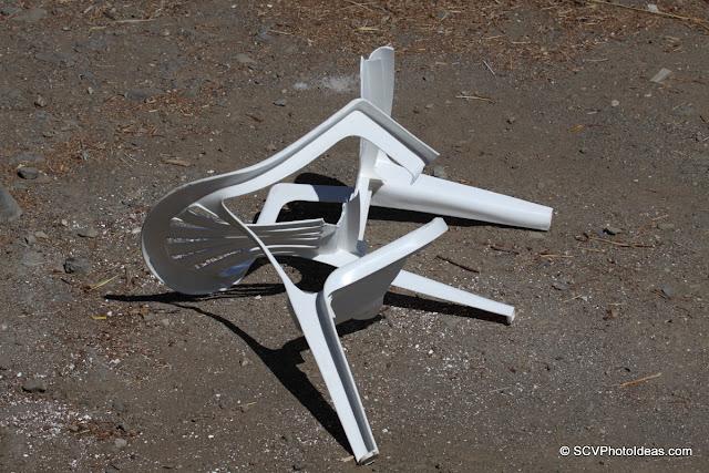 Broken plastic armchair