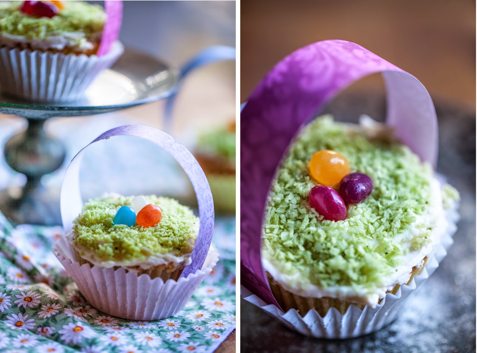 Naturally colored Easter cupcakes lemon and coconut with matcha for green