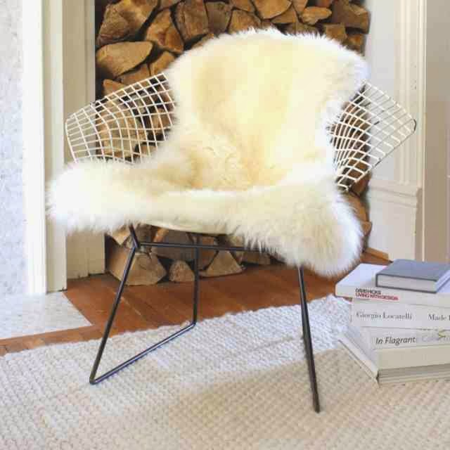 wire chair with Sheepskin rug