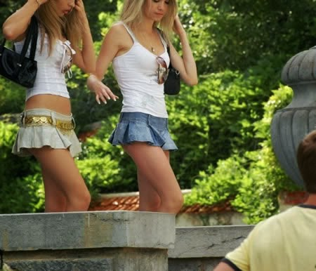 Sexy Russia Lady Wearing Super Mini Skirt