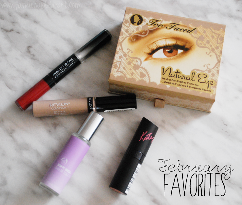 favorites february beauty mufe revlon too faced rimmel london body shop