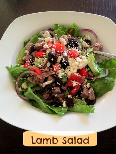Lamb Salad:  A green salad topped with left over Herb Roasted Leg of Lamb, olives, tomatoes, and feta.
