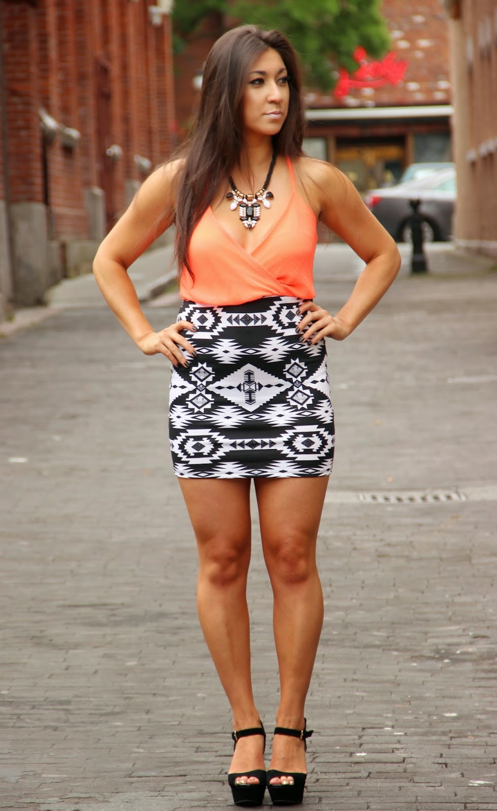 Neon and tribal print summer dress