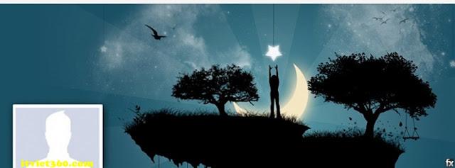 Ảnh bìa facebook 3D đẹp độc đáo - Cover FB timeline nice, cô đơn trăng sao