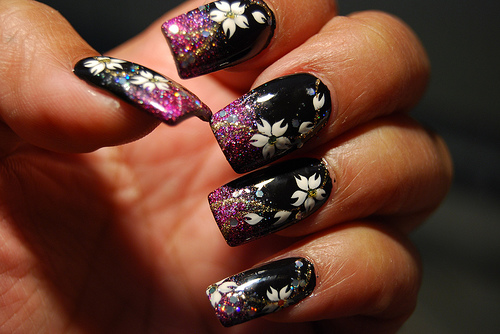 Black Color Glitter Nail Art With White Floral Nail designs