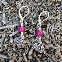 fine silver rose earrings by Emeline Purcell