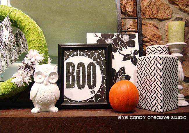 BOO art print, Halloween mantel, simple Halloween decor, framed art