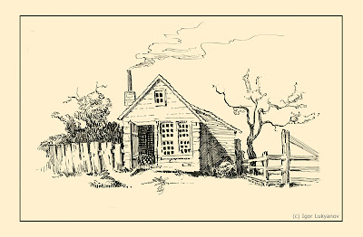 a village hut drawing
