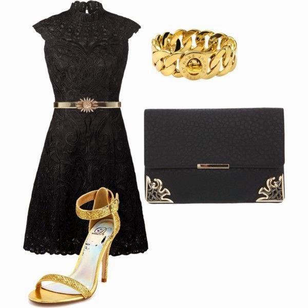 Traje negro con zapatos dorados