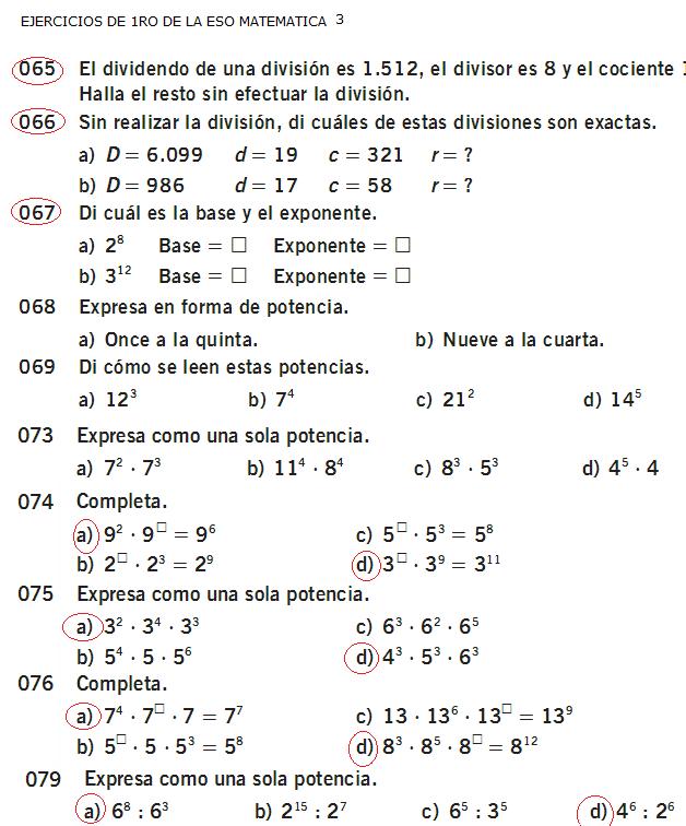 3 eso matematica: