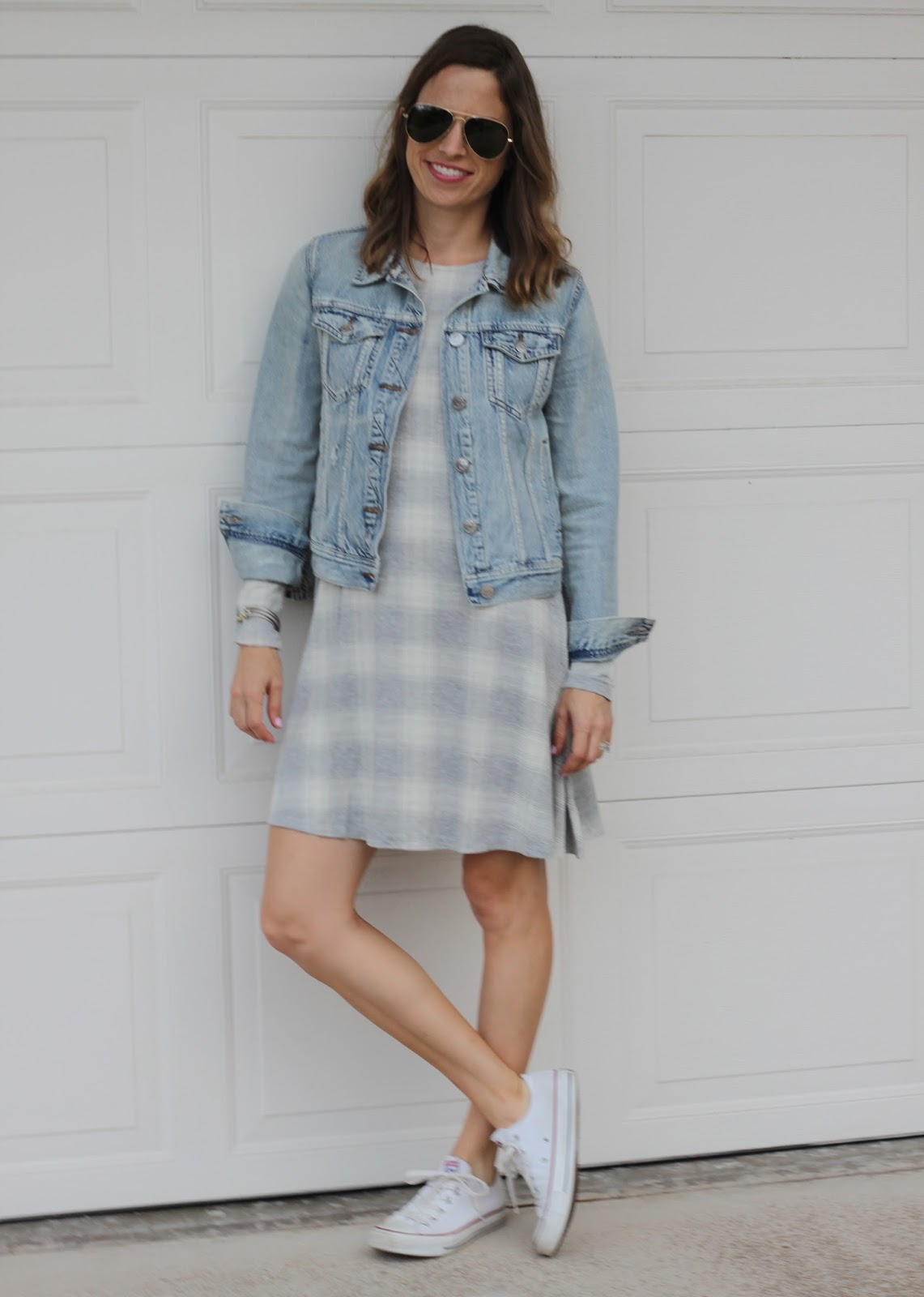 plaid dress and jean jacket