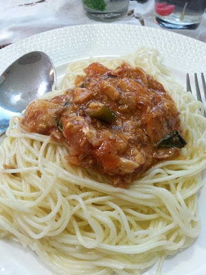 spaghetti sardin, majlis raya. open house