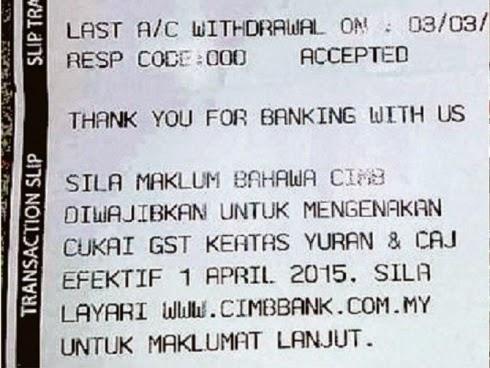 Viral pengeluaran wang ATM dikenakan caj GST melampau, cukai barangan dan perkhidmatan (GST), kesan perlaksanaan GST harga barangan naik, peniaga ambil kesempatan GST, viral GST laman sosial, caj GST tinggi keluarkan wang, ramalan kesan GST, gambar GST, GST Malaysia, mekanisme GST