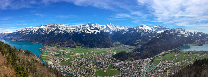 Peak view panorama of Harder Klum in Interlaken Switzerland